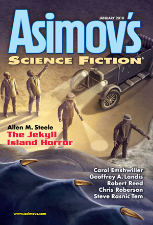 Magazine cover appears to show men in boater hats investigating a beached space squid